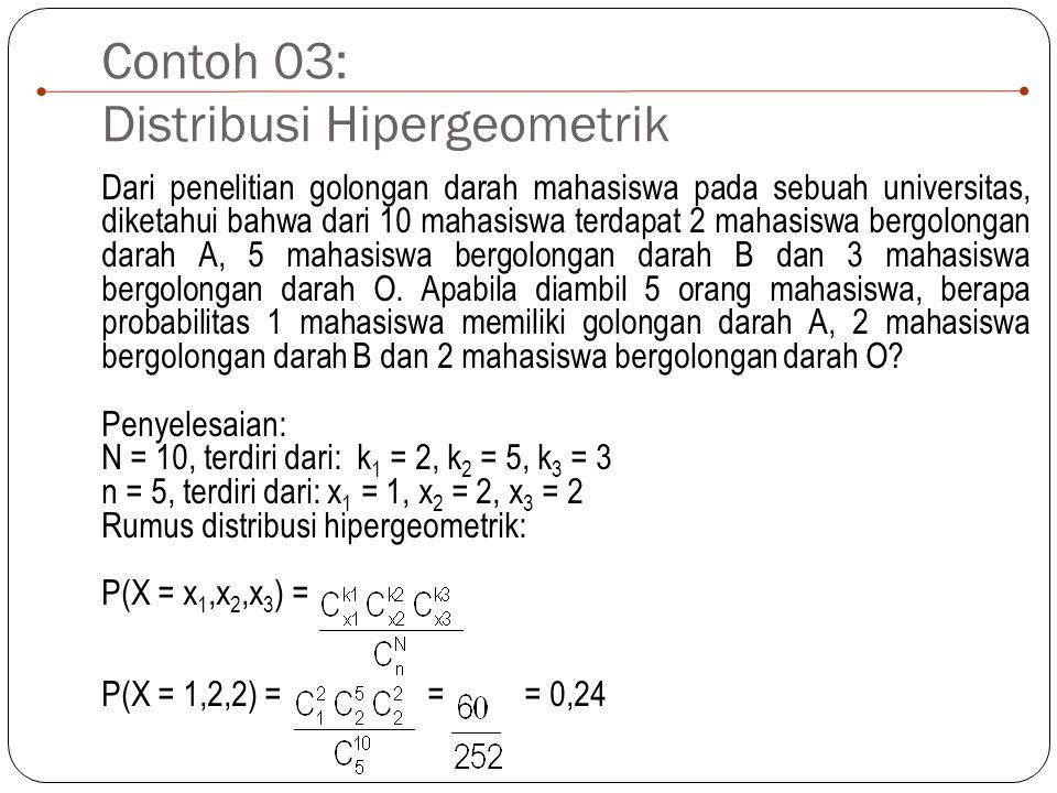 Contoh 03: Distribusi Hipergeometrik