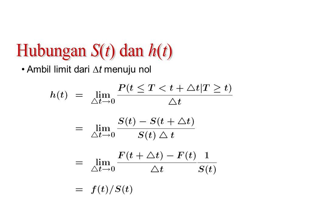 Hubungan S(t) dan h(t) Ambil limit dari t menuju nol