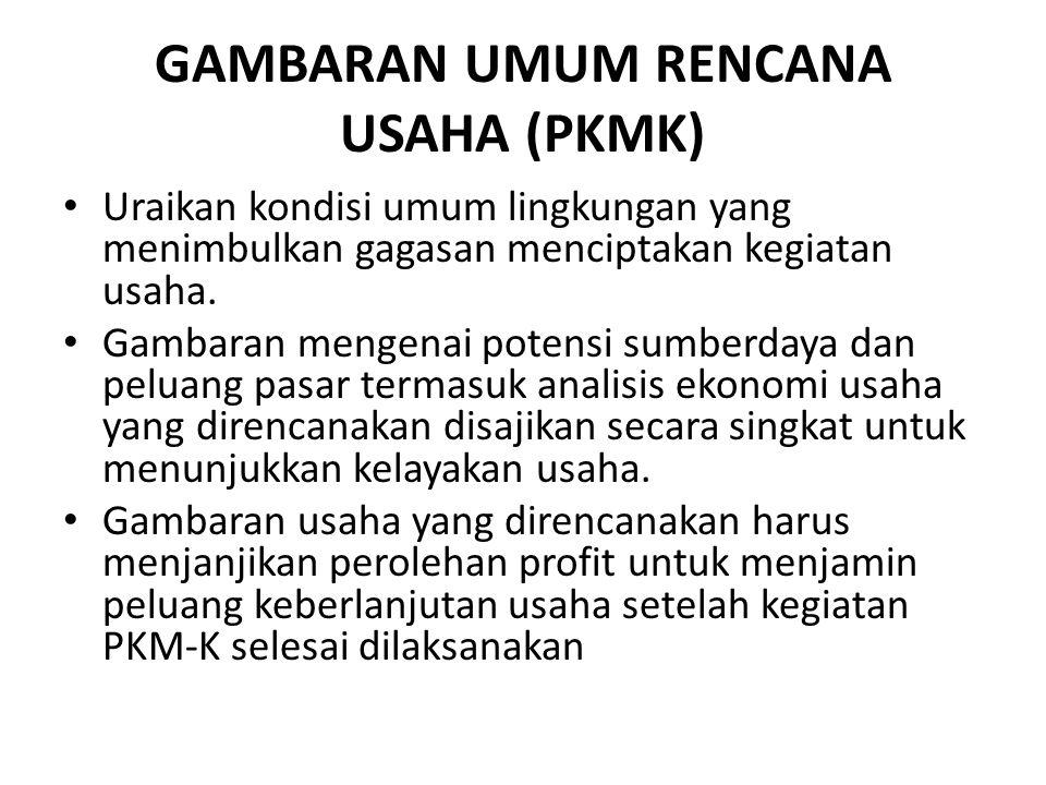 GAMBARAN UMUM RENCANA USAHA (PKMK)