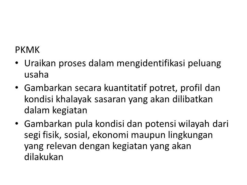 PKMK Uraikan proses dalam mengidentifikasi peluang usaha.