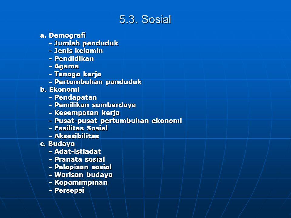 5.3. Sosial a. Demografi - Jumlah penduduk - Jenis kelamin