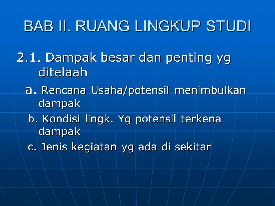 BAB II. RUANG LINGKUP STUDI