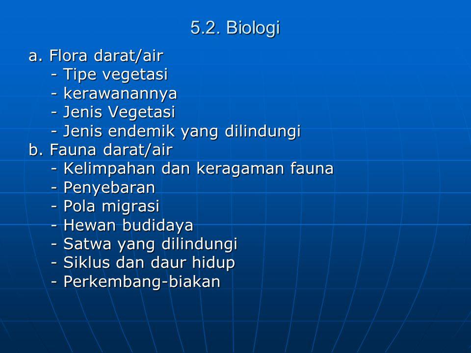 5.2. Biologi a. Flora darat/air - Tipe vegetasi - kerawanannya