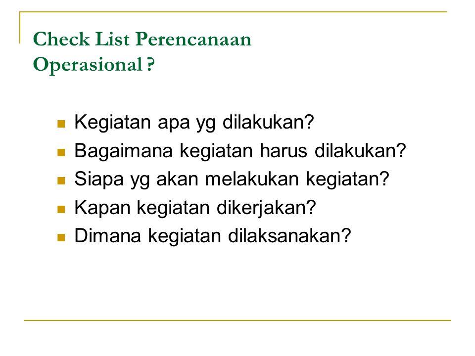 Check List Perencanaan Operasional