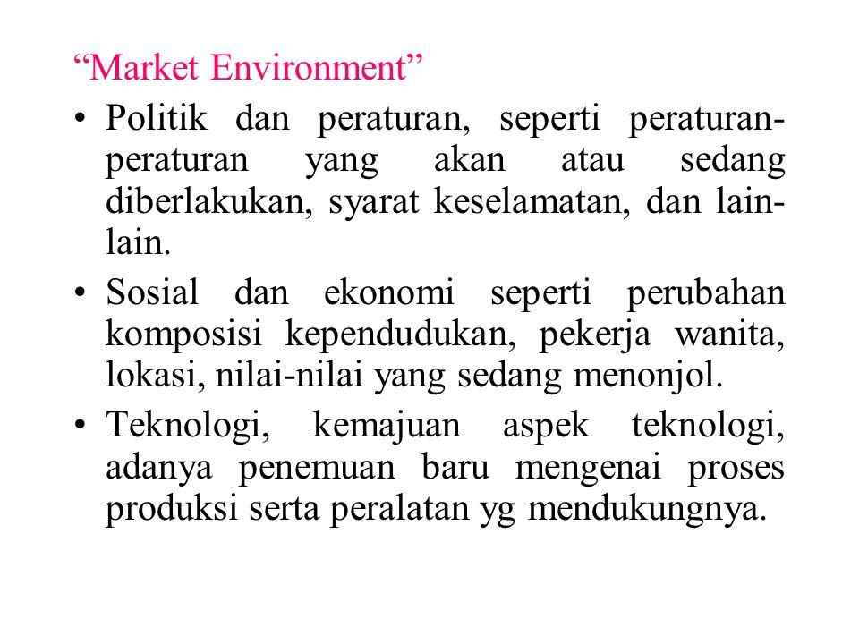 Market Environment Politik dan peraturan, seperti peraturan-peraturan yang akan atau sedang diberlakukan, syarat keselamatan, dan lain-lain.
