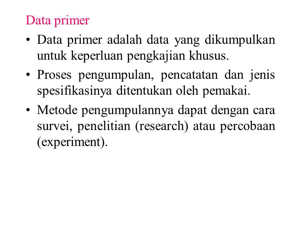 Data primer Data primer adalah data yang dikumpulkan untuk keperluan pengkajian khusus.