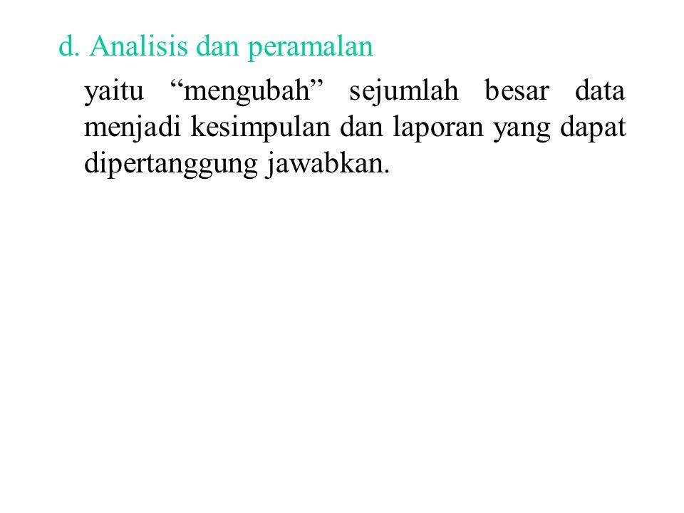 d. Analisis dan peramalan