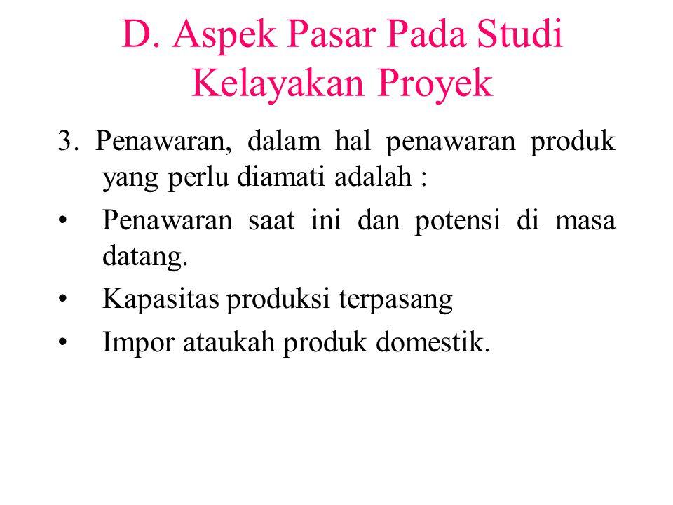 D. Aspek Pasar Pada Studi Kelayakan Proyek