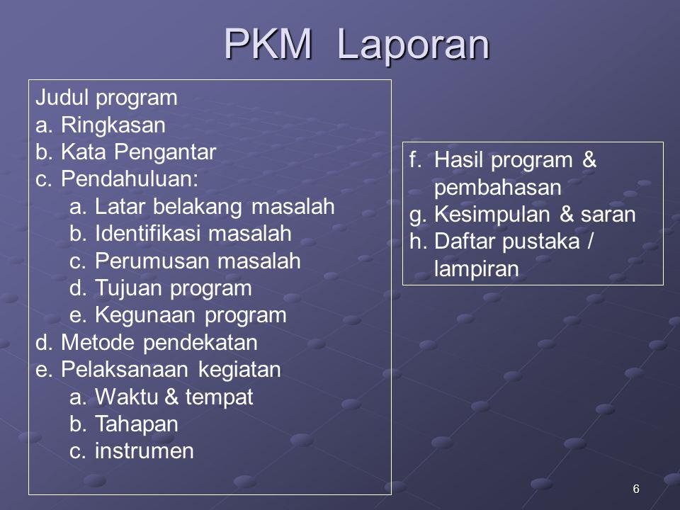 PKM Laporan Judul program Ringkasan Kata Pengantar Pendahuluan:
