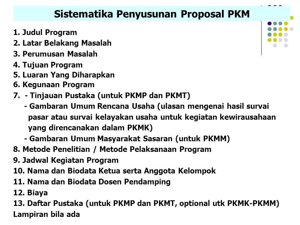 Sistematika Penyusunan Proposal PKM