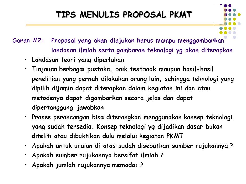 TIPS MENULIS PROPOSAL PKMT