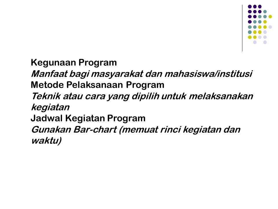 Kegunaan Program Manfaat bagi masyarakat dan mahasiswa/institusi. Metode Pelaksanaan Program.