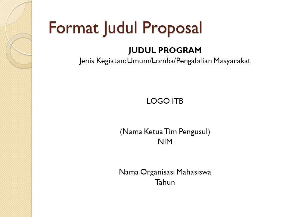 Format Judul Proposal