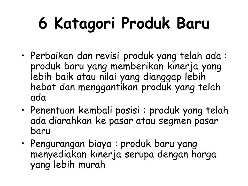 6 Katagori Produk Baru