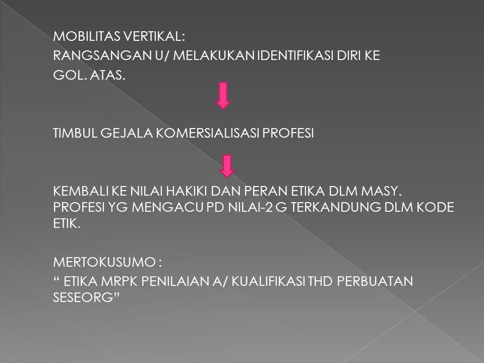 MOBILITAS VERTIKAL: RANGSANGAN U/ MELAKUKAN IDENTIFIKASI DIRI KE GOL
