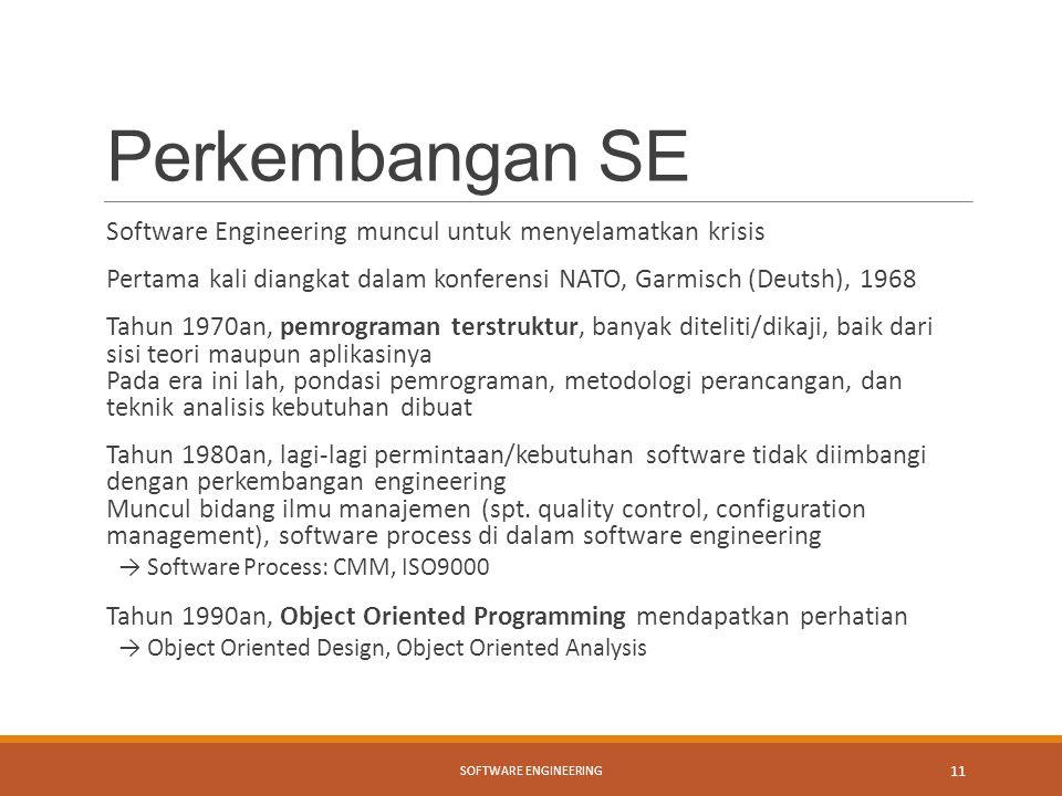 Perkembangan SE Software Engineering muncul untuk menyelamatkan krisis