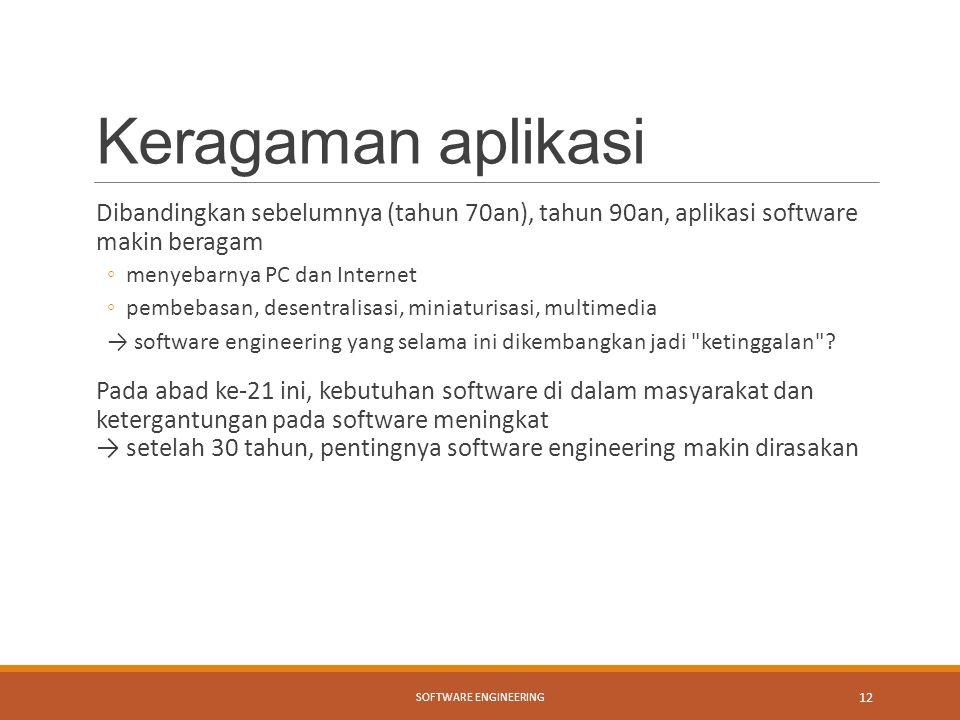 Keragaman aplikasi Dibandingkan sebelumnya (tahun 70an), tahun 90an, aplikasi software makin beragam.