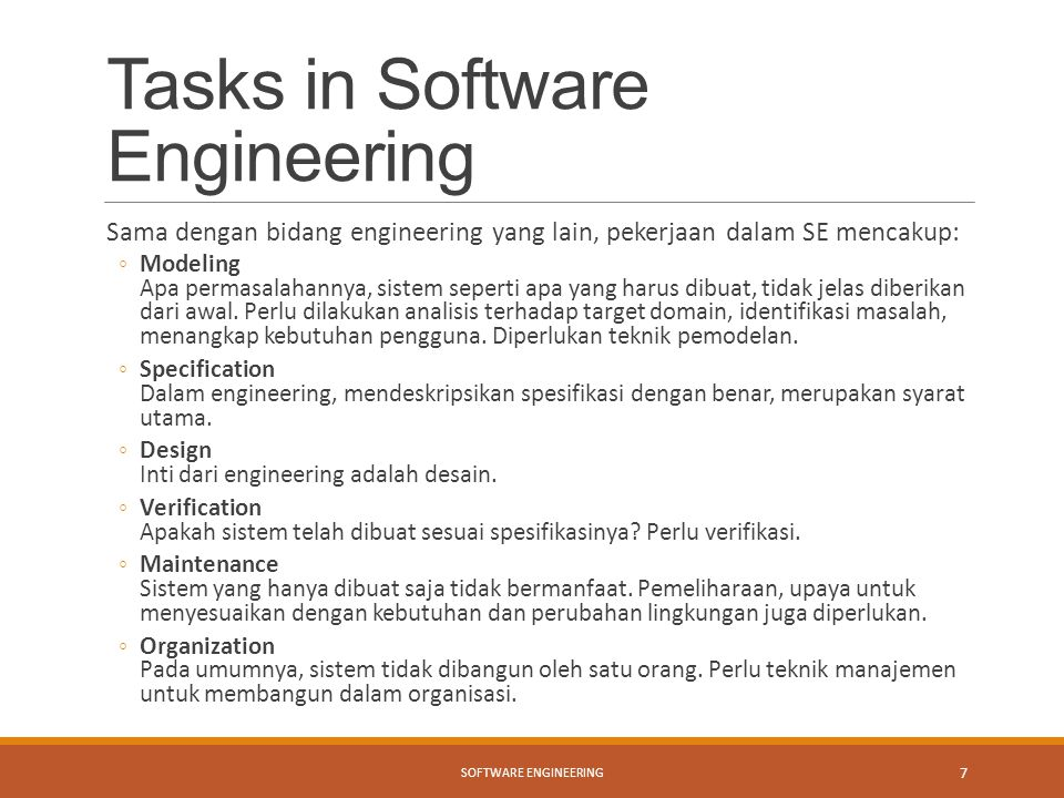 Tasks in Software Engineering