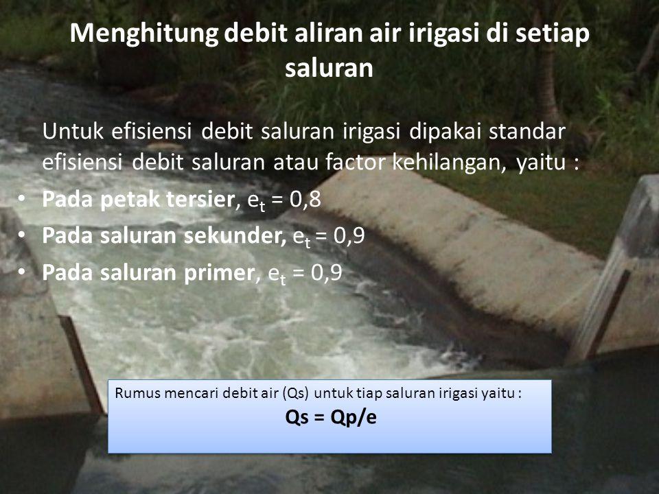 Menghitung debit aliran air irigasi di setiap saluran