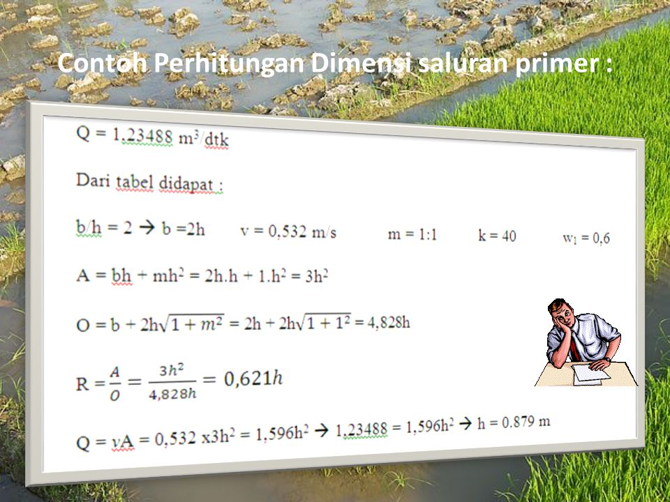 Contoh Perhitungan Dimensi saluran primer :