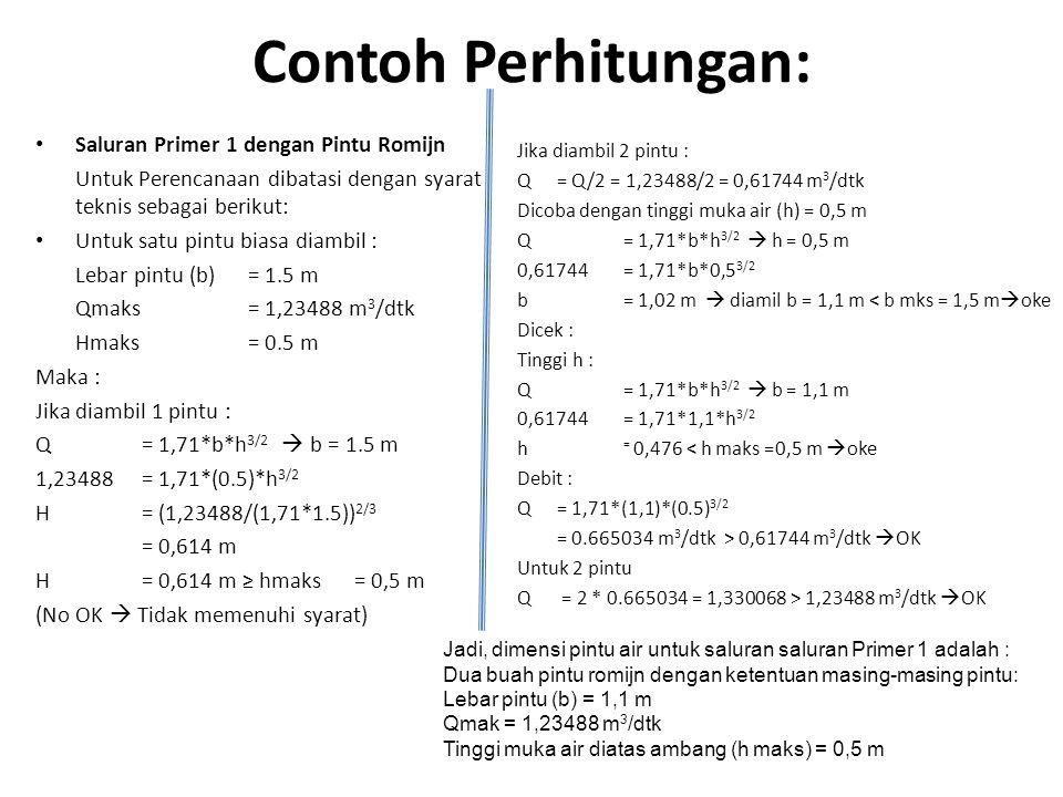 Contoh Perhitungan: Saluran Primer 1 dengan Pintu Romijn
