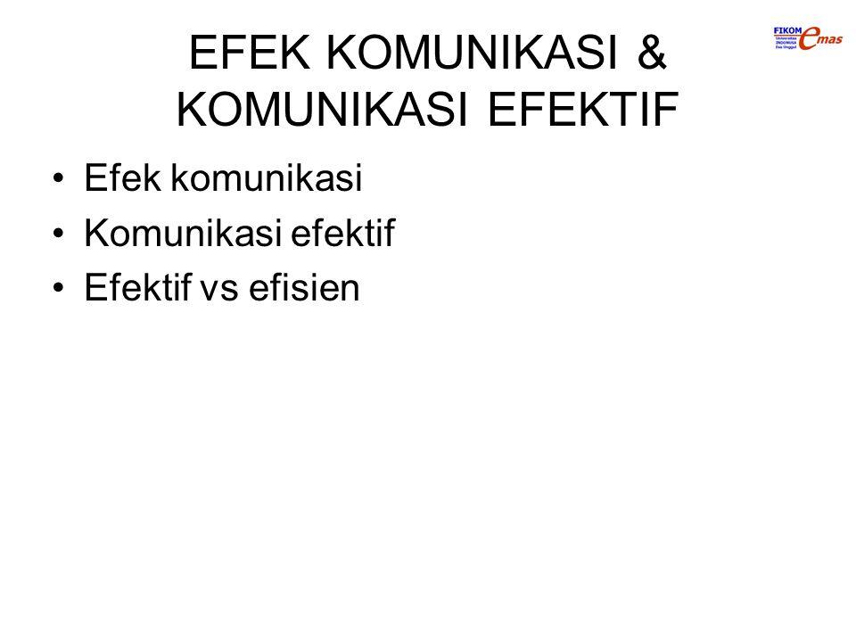 EFEK KOMUNIKASI & KOMUNIKASI EFEKTIF
