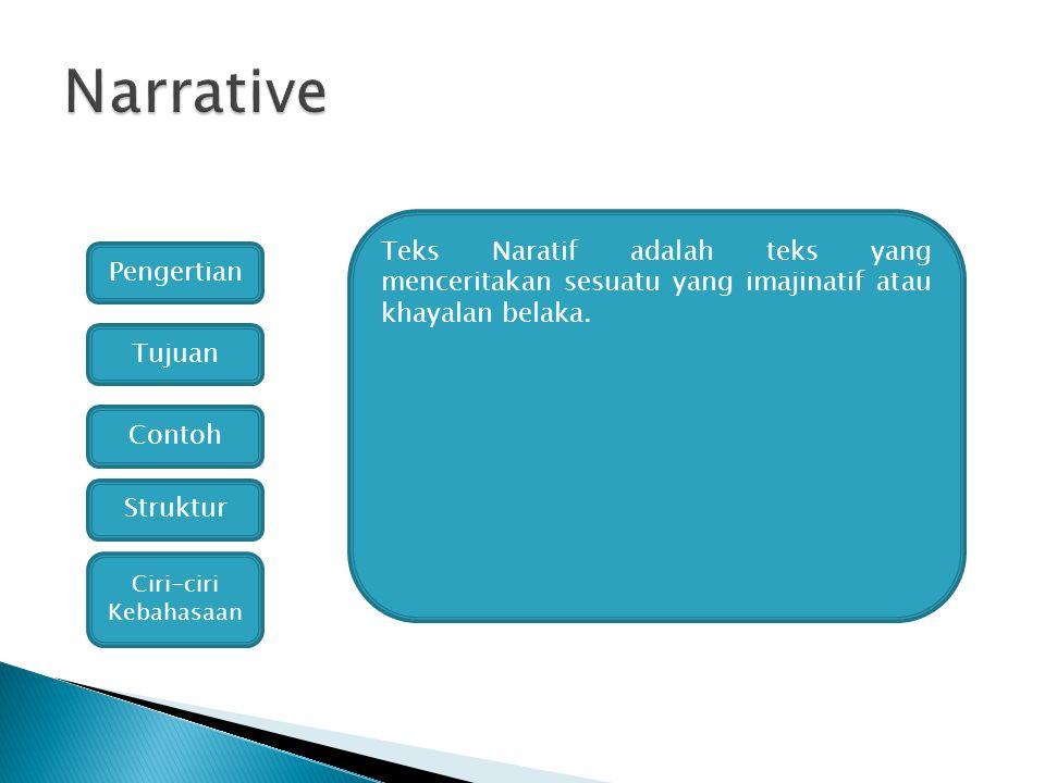 Narrative Teks Naratif adalah teks yang menceritakan sesuatu yang imajinatif atau khayalan belaka. Pengertian.