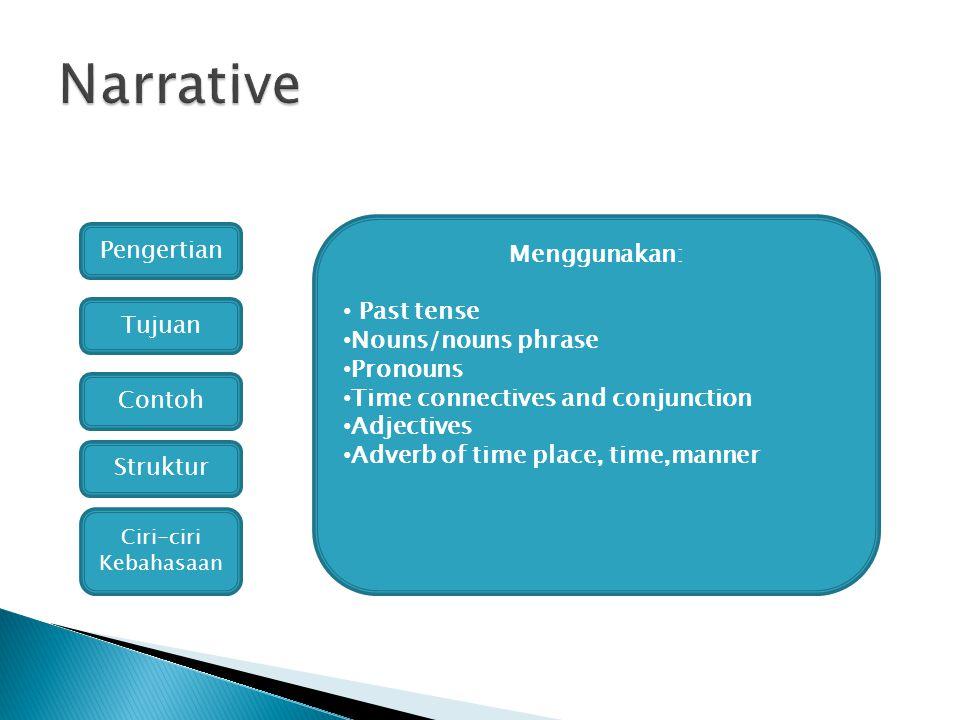 Narrative Pengertian Menggunakan: Past tense Nouns/nouns phrase