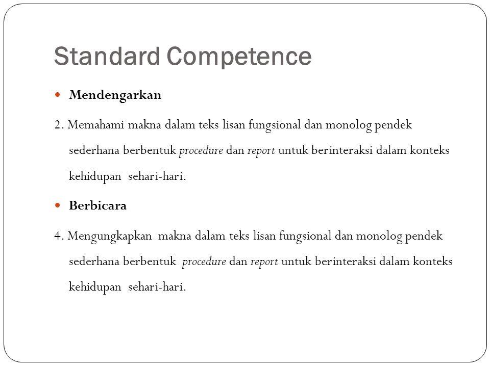 Standard Competence Mendengarkan