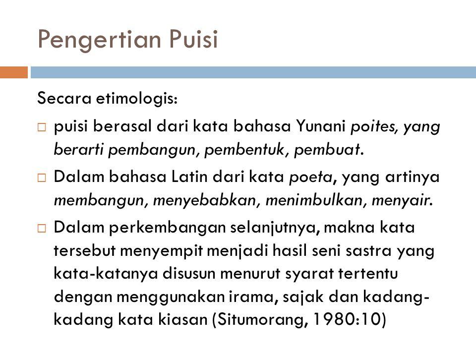 Pengertian Puisi Secara etimologis: