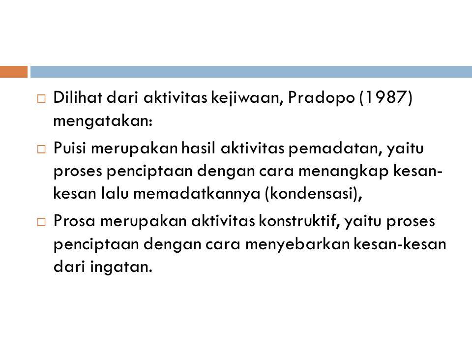 Dilihat dari aktivitas kejiwaan, Pradopo (1987) mengatakan: