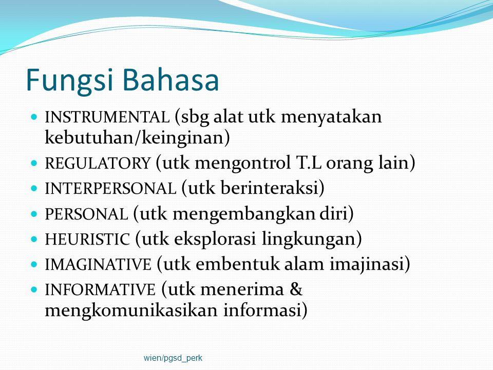 Fungsi Bahasa INSTRUMENTAL (sbg alat utk menyatakan kebutuhan/keinginan) REGULATORY (utk mengontrol T.L orang lain)