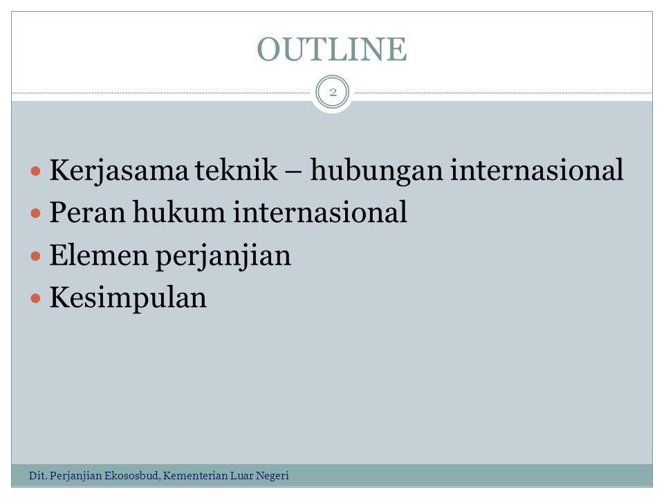 OUTLINE Kerjasama teknik – hubungan internasional