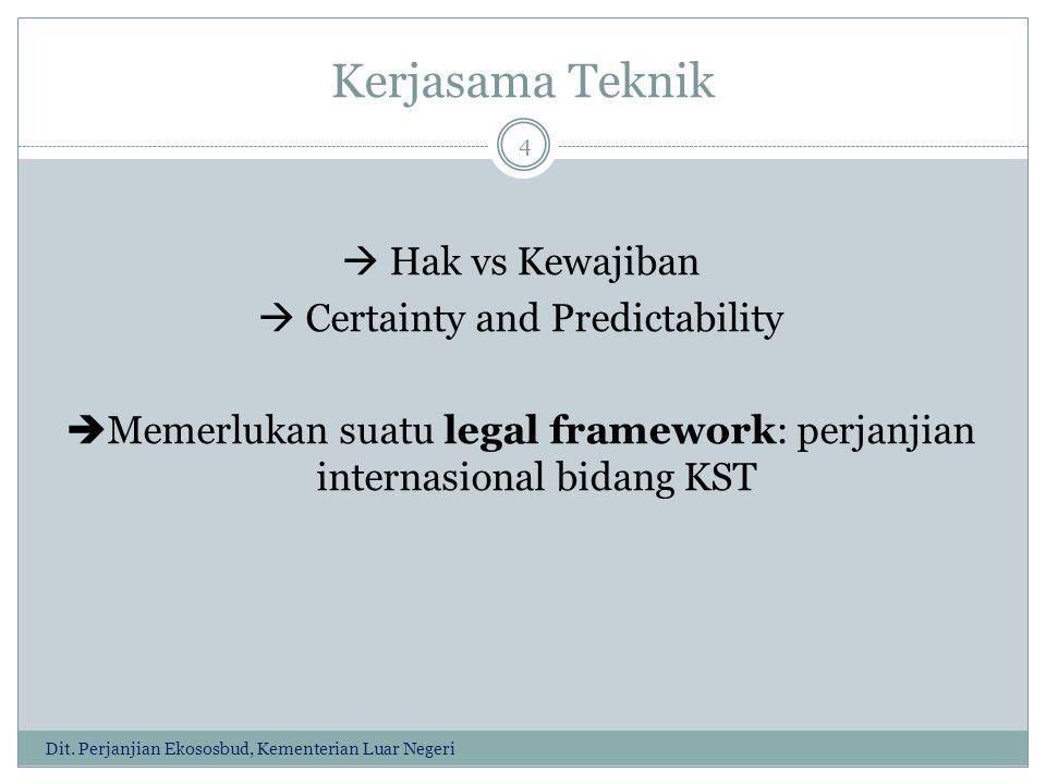 Kerjasama Teknik  Hak vs Kewajiban  Certainty and Predictability Memerlukan suatu legal framework: perjanjian internasional bidang KST