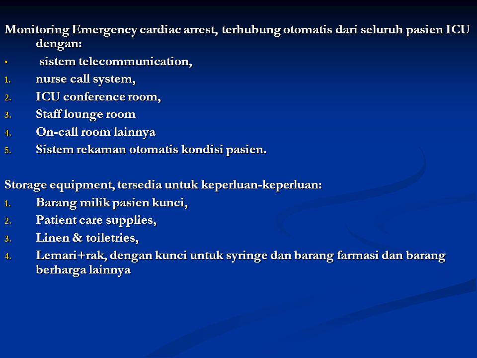 Monitoring Emergency cardiac arrest, terhubung otomatis dari seluruh pasien ICU dengan: