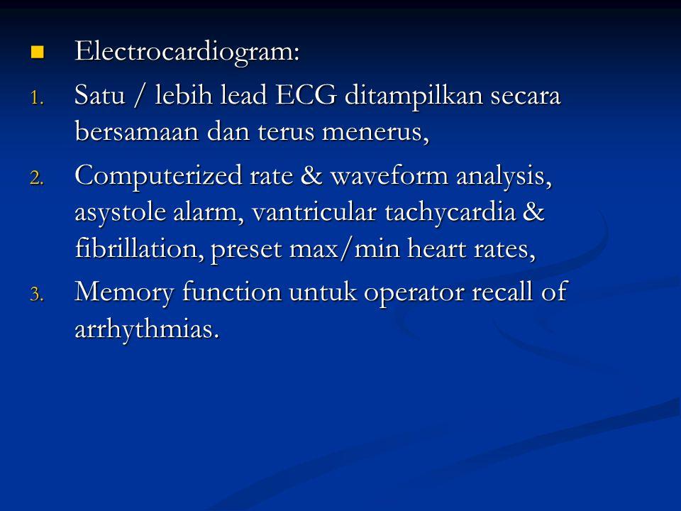 Electrocardiogram: Satu / lebih lead ECG ditampilkan secara bersamaan dan terus menerus,