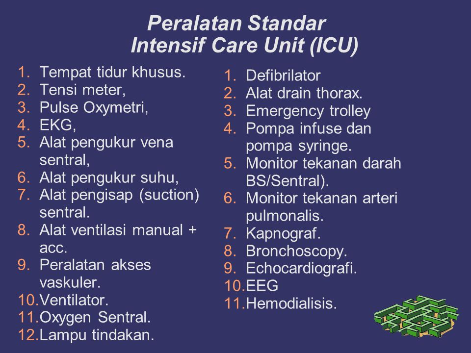 Peralatan Standar Intensif Care Unit (ICU)‏