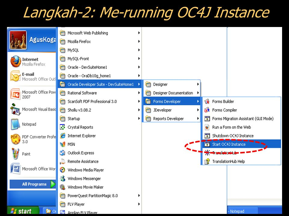 Langkah-2: Me-running OC4J Instance
