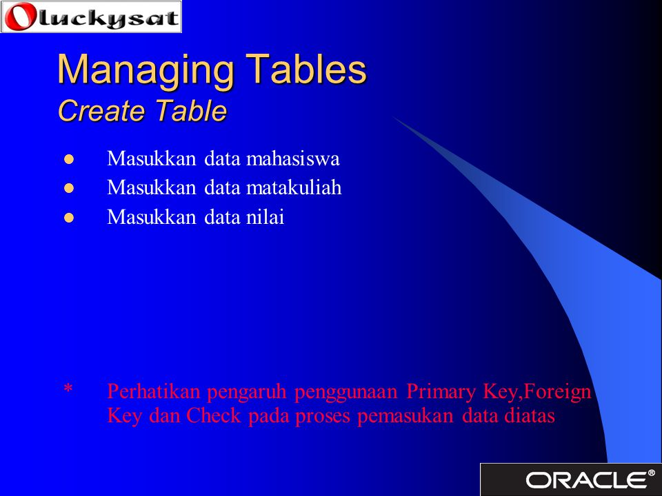 Managing Tables Create Table
