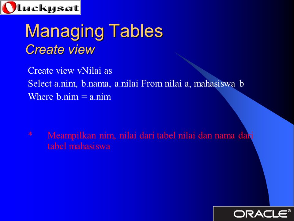 Managing Tables Create view