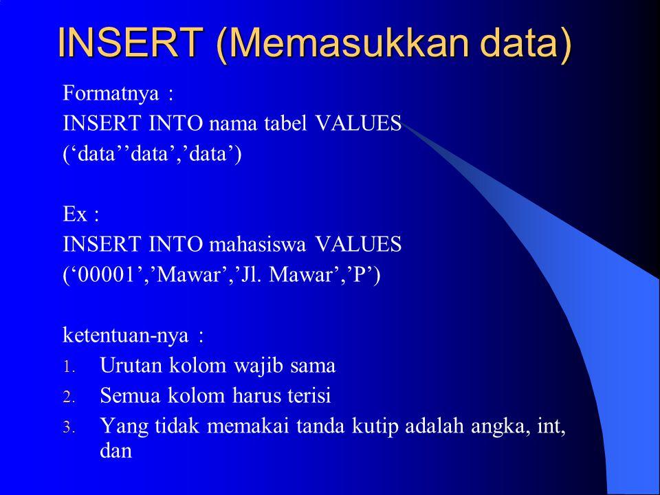 INSERT (Memasukkan data)