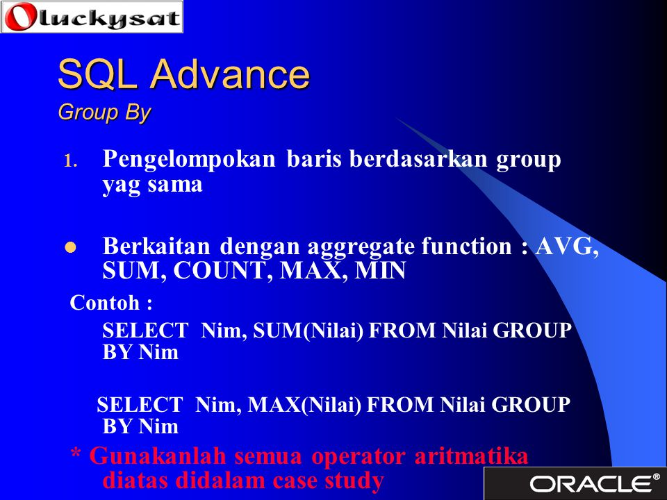 SQL Advance Group By Pengelompokan baris berdasarkan group yag sama