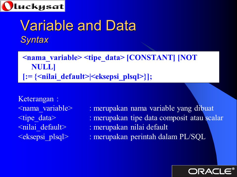 Variable and Data Syntax