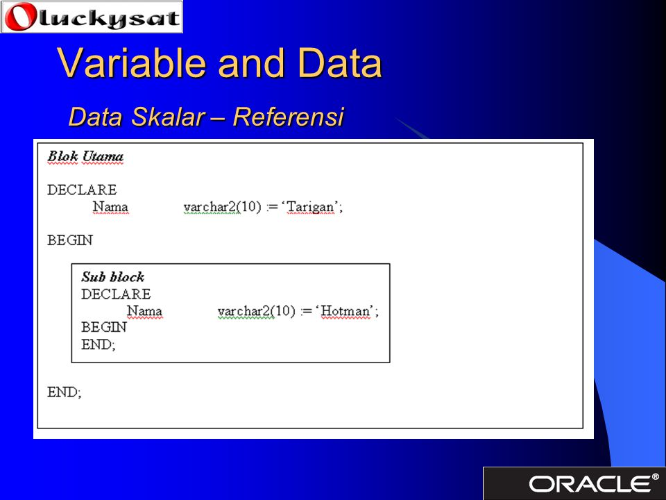 Variable and Data Data Skalar – Referensi