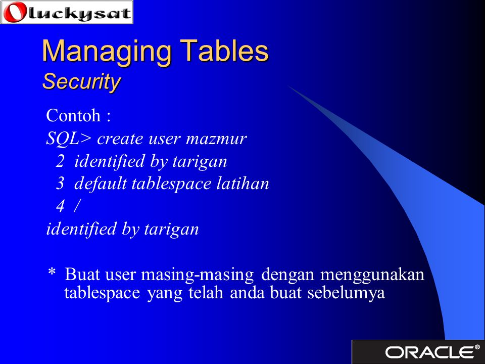 Managing Tables Security