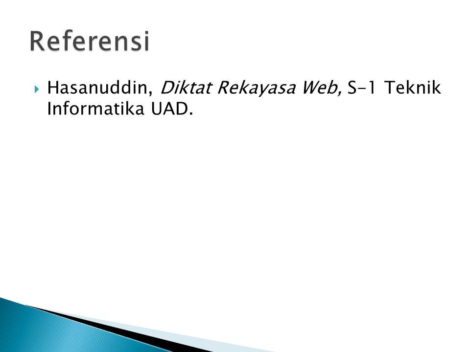 Referensi Hasanuddin, Diktat Rekayasa Web, S-1 Teknik Informatika UAD.
