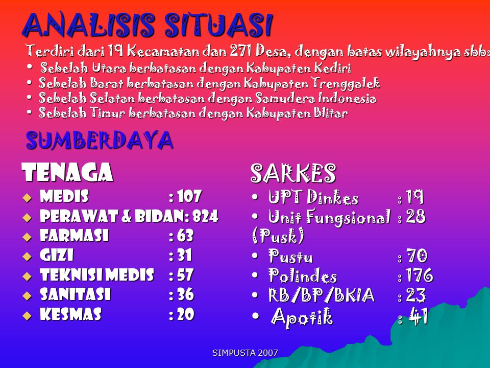 ANALISIS SITUASI TENAGA SARKES SUMBERDAYA Apotik : 41 Medis : 107