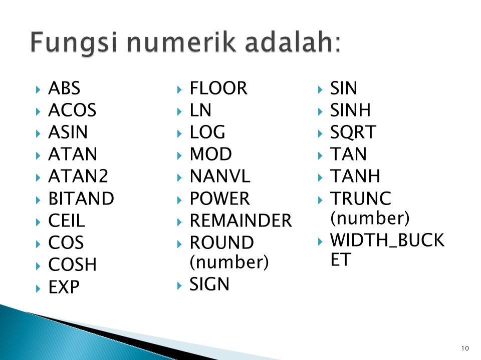 Fungsi numerik adalah: