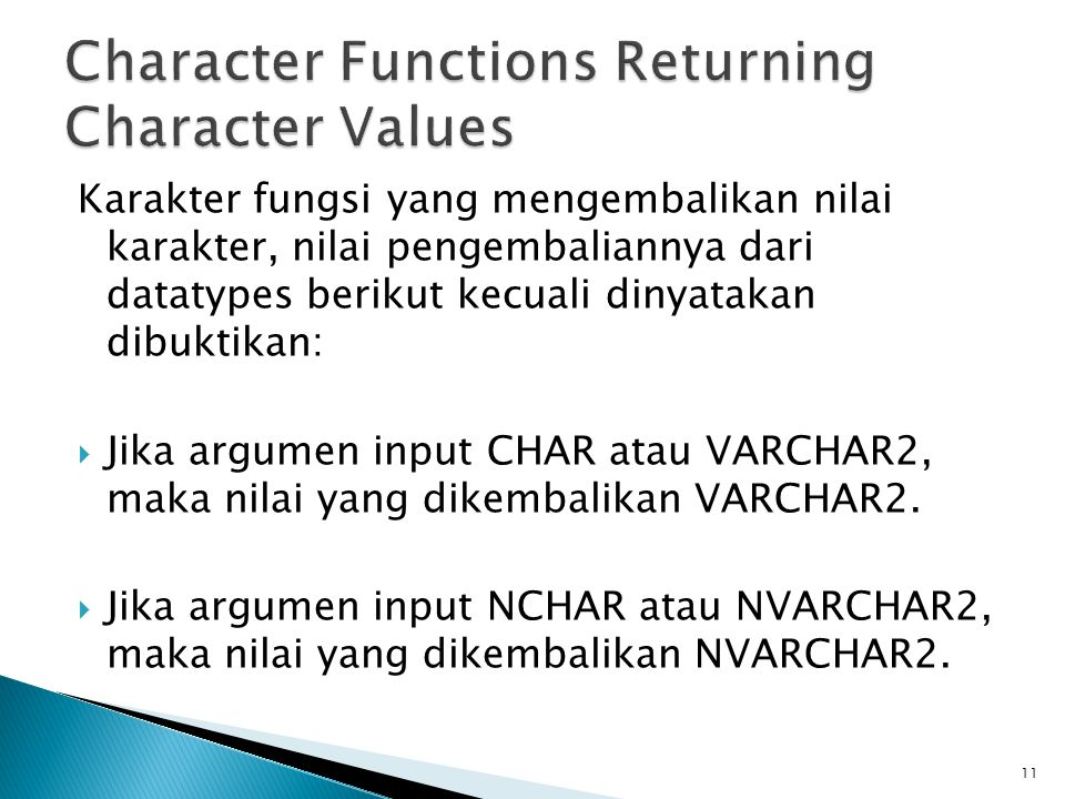 Character Functions Returning Character Values