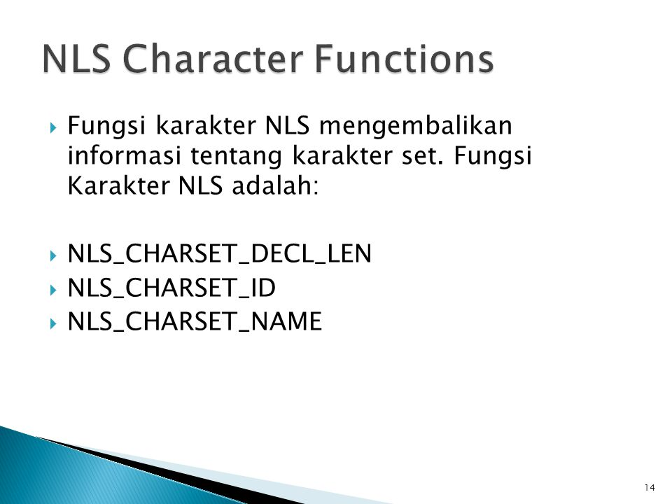 NLS Character Functions
